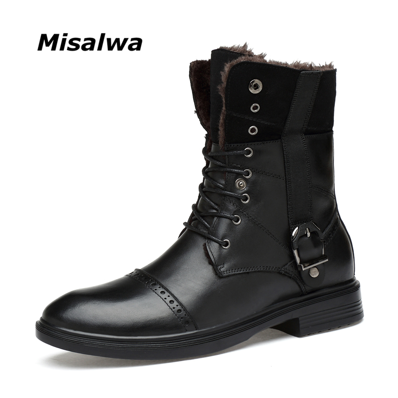 Misalwa 2019 Winter / Spring Snow Men Genuine Leather Boots Luxury Brand Men High top Boots Plus Size 34 48