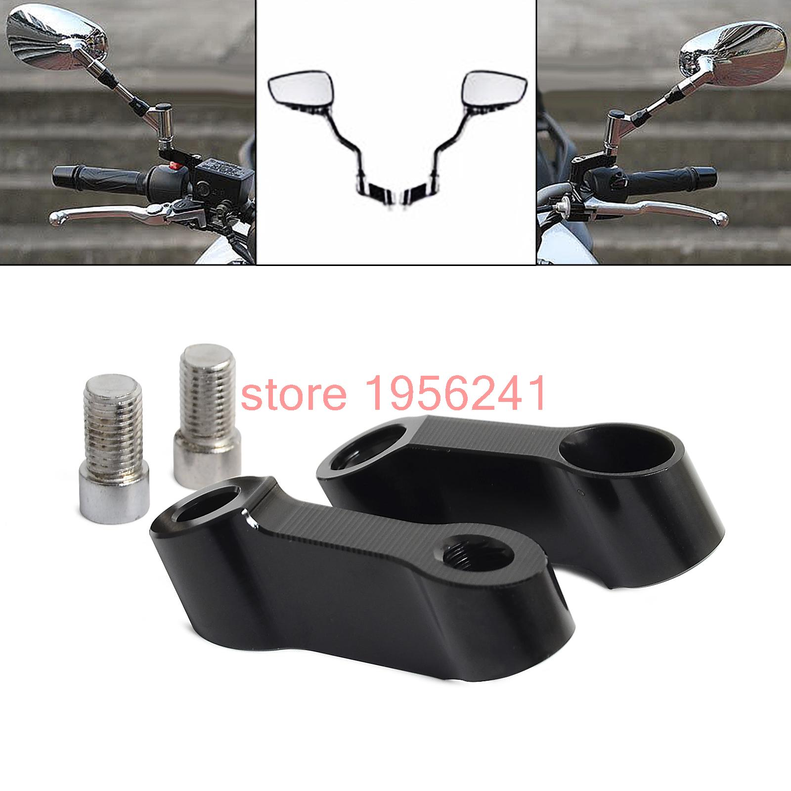 Black Bolts Size 10mm Mirrors Extension Riser Extend Adapter For Yamaha MT-09 MT-07 MT07 Fazer FZ-07 FZ-09 V-max1700 V-max 1700