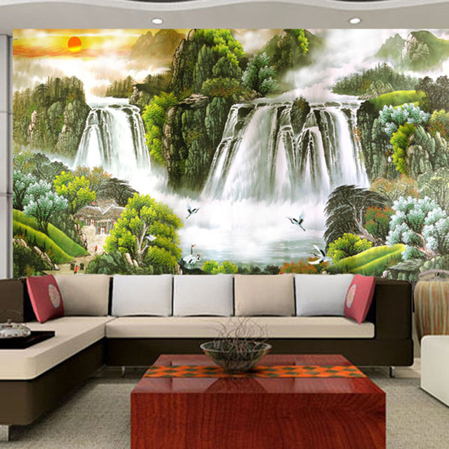 Large modern living room 3d landscape painting feng shui for Modern feng shui