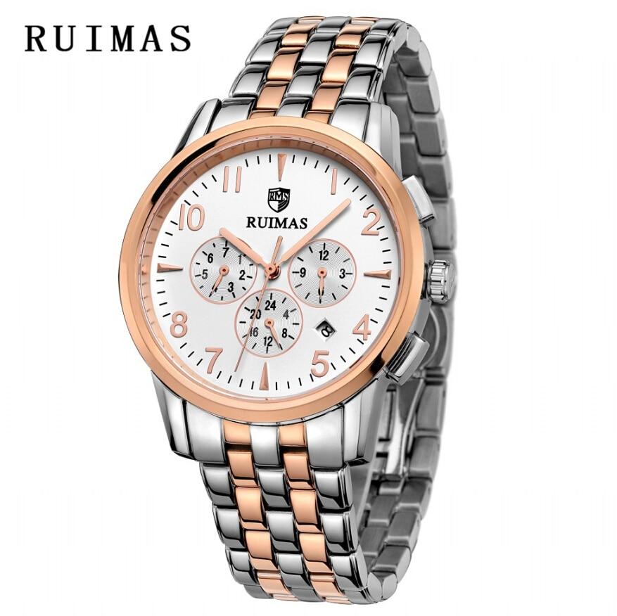 Luksusowa Sukienka RUIMAS Zegarek Różowe Złoto Nowa Moda Sport - Męskie zegarki - Zdjęcie 3