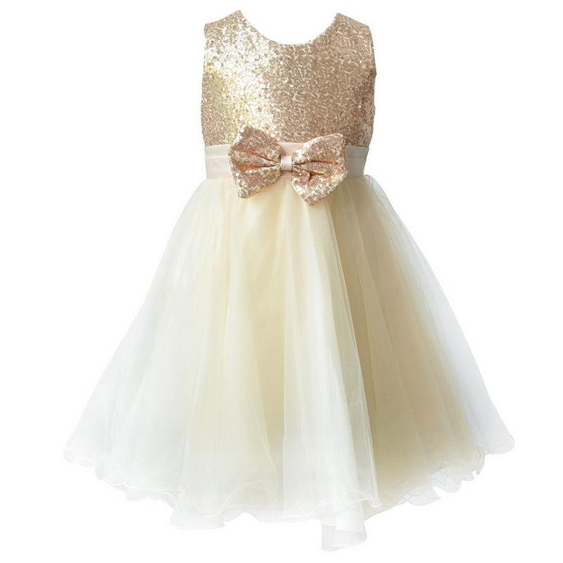 2019 Shiny Sequined Champagne Blue Red   Flower     Girl     Dresses   with Bow First Communion   Dresses   Pageant   Dresses   for Little   Girls
