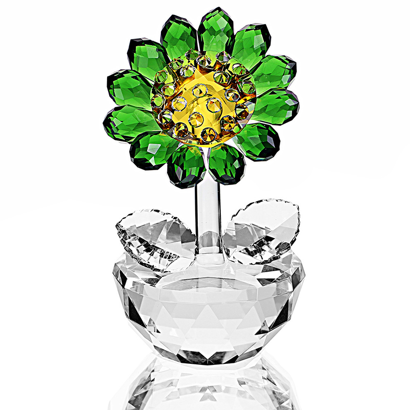 H&D Crystal Sunflower Figurine Ornament Paperweight Home DecorH&D Crystal Sunflower Figurine Ornament Paperweight Home Decor