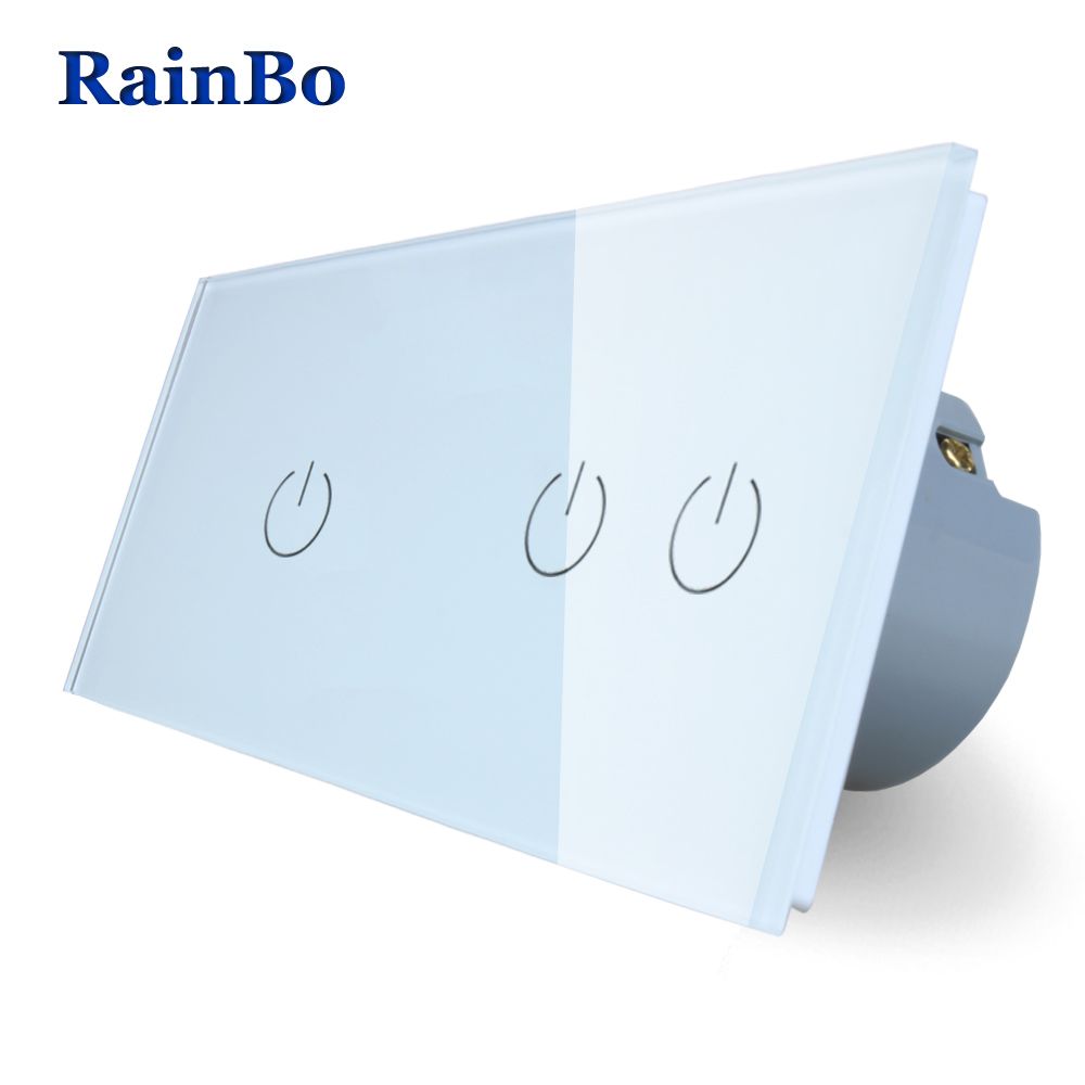 RainBo 2Frame Crystal Glass Panel Switch Wall Switch EU Touch Switch Screen Wall Light Switch 1gang1way+2gang1way A291121W/B smart home us au wall touch switch white crystal glass panel 1 gang 1 way power light wall touch switch used for led waterproof