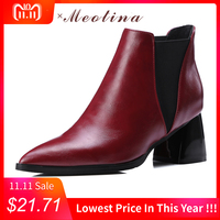 Meotina Shoes Women Ankle Boots Chunky High Heels Martin Boots Pointed Toe Ladies Chelsea Boots Wine Red Black Big Size 10 42 43