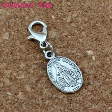 100Pcs/lots Antique silver Catholic Icon Religious Medal San Benito Charms with Lobster clasp Fit Charm Bracelet DIY Jewelry