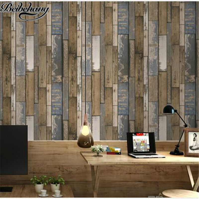 beibehang Chinese Vintage 3D Revolving Wooden Pattern PVC Wallpaper Bedroom Living Room Study TV Wall Wallpaper papel de parede