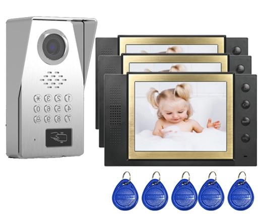 SMTVDP New Style TFT LCD Color 8Video Door Phone Doorbell IR Intercom Home Security Video System FRID Camera 1Camera+3Monitors