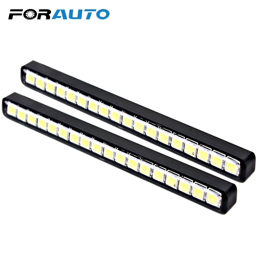 18 LEDs DRL Car daytime LED light Universal DC 12V Car Daytime Running Lights Car Styling 1wx5 70 90lm 6000 6700k white 5 led car daytime running light black dc 12v pair