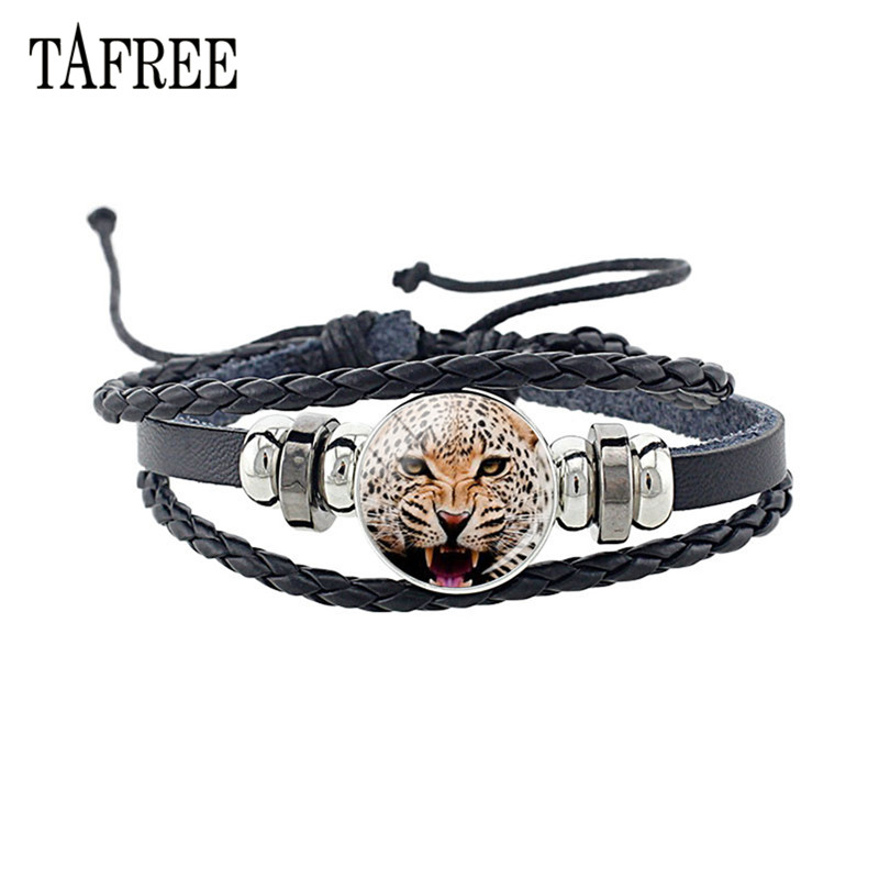 TAFREE 2019 New PU Leather leopard Bracelet Adjustable Black Rope Glass Cabochon Animal Pattern Charm Dropshipping E617