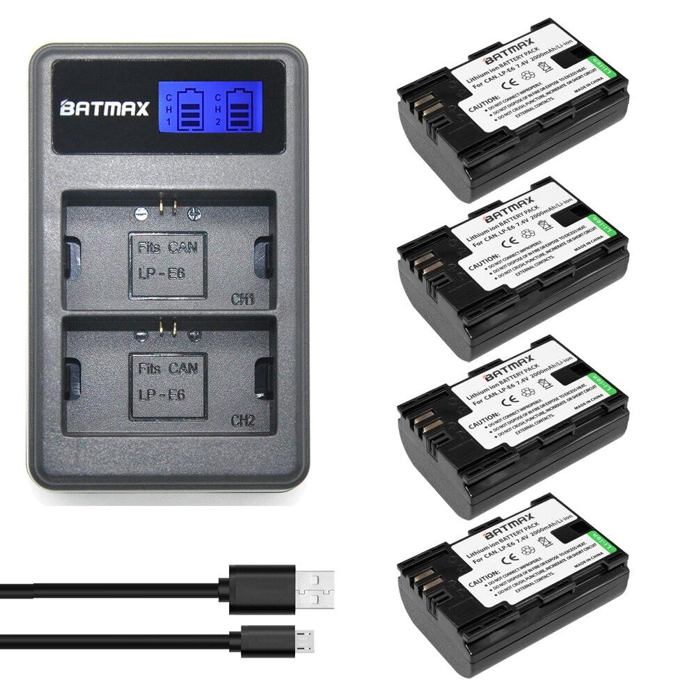 4Pcs High-Capacity LP-E6 LP E6 lpe6 Battery akku +LCD Dual Charger for Canon EOS 5D 5D2 5DS R Mark II 2 III 6D 60D 60Da 7D 7D durapro 3pcs lp e6 lp e6n battery lcd usb charger for canon eos 5d 5d2 5ds mark ii 2 mark iii 3 6d 60d 7d 7d2 7dii 70d 80d