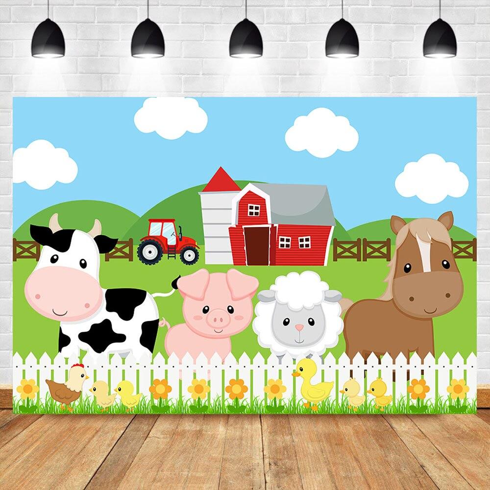 Neoback fazenda tema fotografia backdrops celeiro vermelho barnyard trator animais foto fundo crianças festa de aniversário pano de fundo