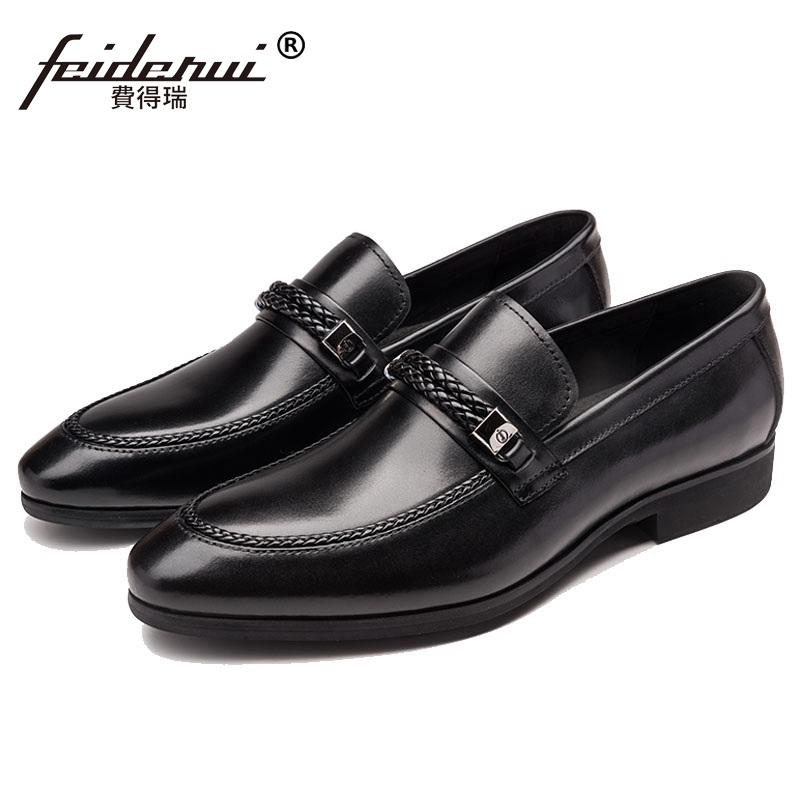 2017 Fashion Round Toe Man Casual Shoes Genuine Leather Male Office Loafers British Comfortable Men's Wedding Bridal Flats HJ85 white casual shoes man genuine leather male footwear lace up round toe new arrival fashion british lacets chaussures top quality