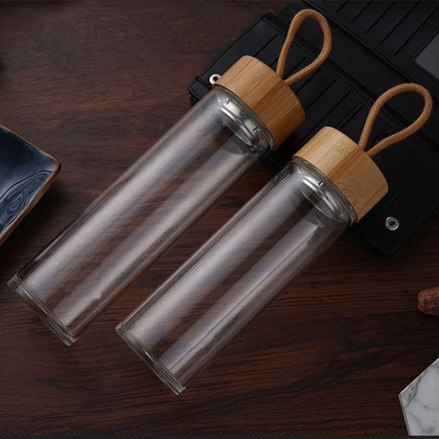 380ml 450ml High Quality Glass Water Bottles Bamboo Lid With Rope Drink Bottled For Beverages Outdoor Brief Portable Tea bottle 2