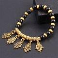 New Natural Stone Alloy Fatima Hand Evil Eye Charm Bracelet beads Bohemian Bracelets for Women Mujer Jewelry accessories