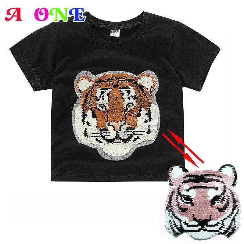 Moda de verano Tigre conmutable de bebé niñas camisa de niños cumpleaños camiseta chico magia decoloración tops 80-130 cm 2-8 años