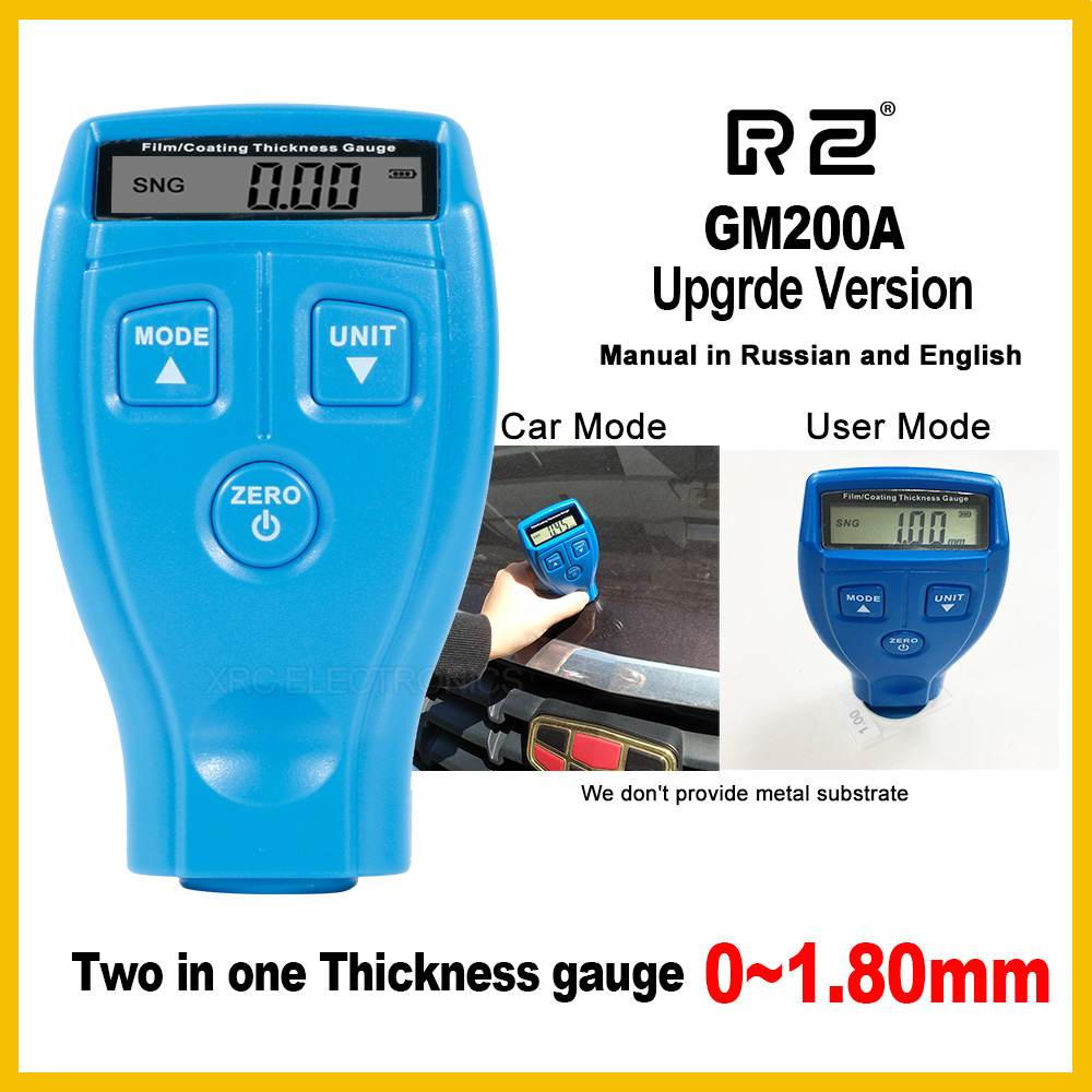 RZ New Portable Paint Film Meter Tester Coating Measure Thickness Gauge Digital Portable Mini Thickness Gauge Tester GM200A