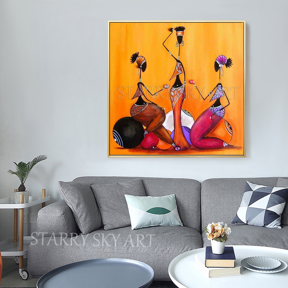 New Arrivals Hand painted Modern Fine Art African Figures Oil Painting on Canvas African Art Black Woman Portrait Oil Painting in Painting Calligraphy from Home Garden