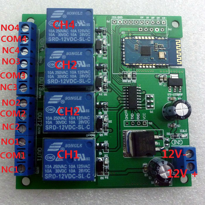12v 4 Channel Bluetooth Relay Android Mobile Remote Control Switch For Motor Led Light Lock In Integrated Circuits From Electronic Ponents Supplies: 4 Channel Momentary Remote Wiring Diagram At Eklablog.co