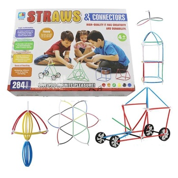 284pcs 4D DIY Plastic Toys Straw Fight Inserted Construction Building Kits Assembly Toys Blocks Bricks Birthday