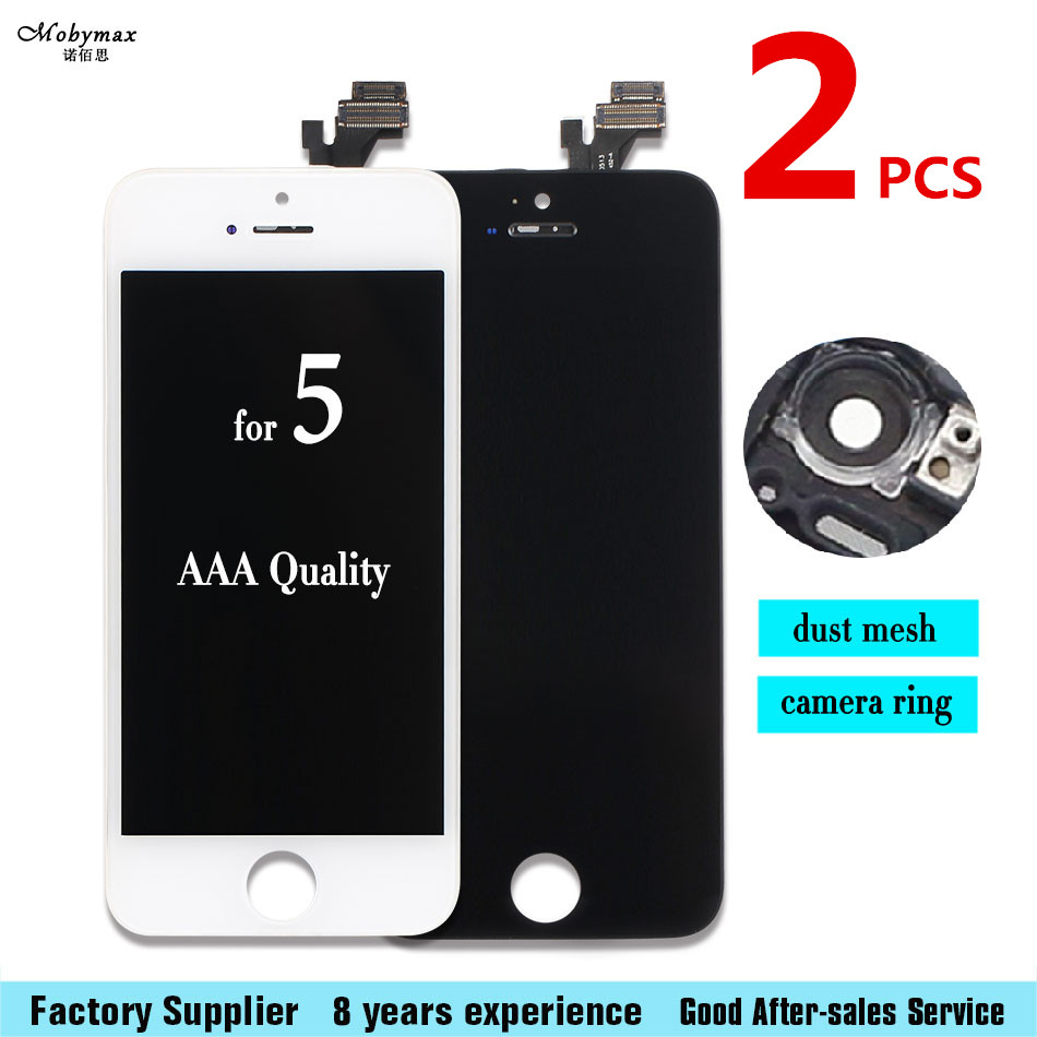 2pcs Mobymax AAA For Apple iPhone 5 5G A1428 A1429 LCD Display Touch Screen Assembly With Digitizer +Tempered film