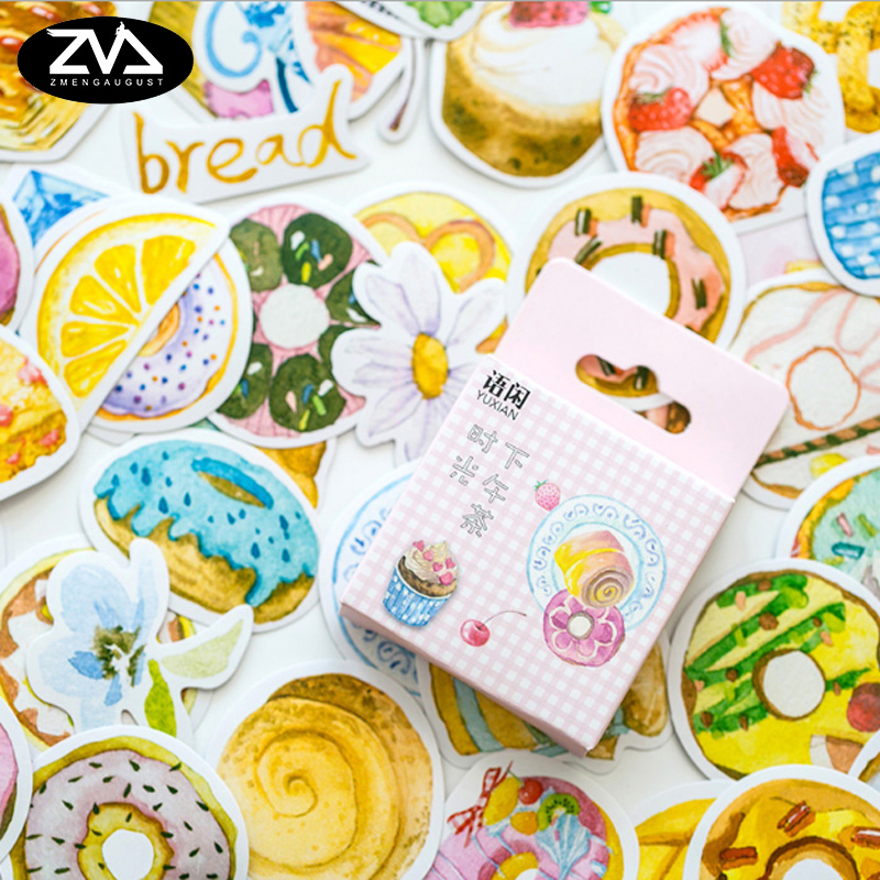 50pcs/box Afternoon tea time decoration stickers DIY Stickers Diary Decoration Scrapbooking seal Sticker Stationery