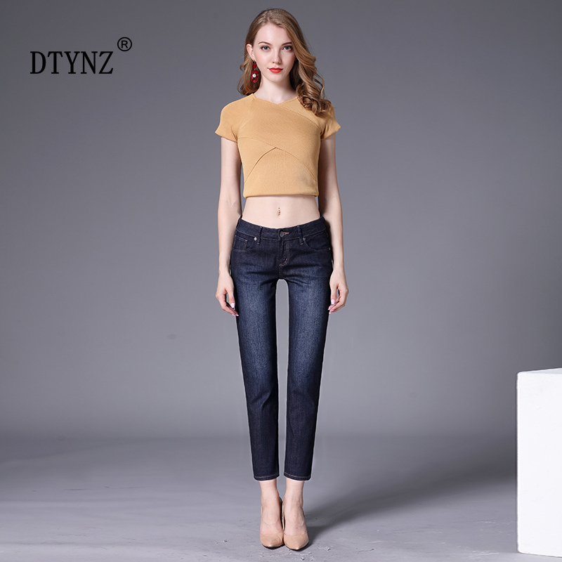 Dtynz Jeans Woman 2019 New Women's Push Up Jeans Washed White Straight Thin Skinny Denim Plus Size Jeans Black Nine Pants White
