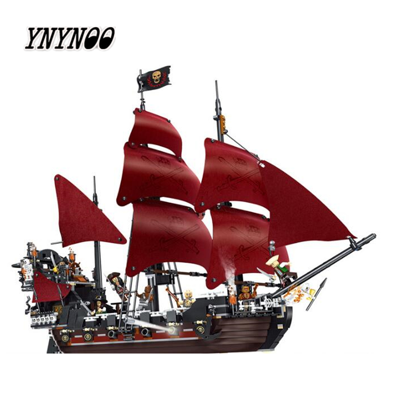 YNYNOO 39008 Pirates series The Queen Annes Revenge model Building Blocks set Compatible legoings 4195 classic Pirate Ship Toys model building blocks toys 16009 1151pcs caribbean queen anne s reveage compatible with lego pirates series 4195 diy toys hobbie
