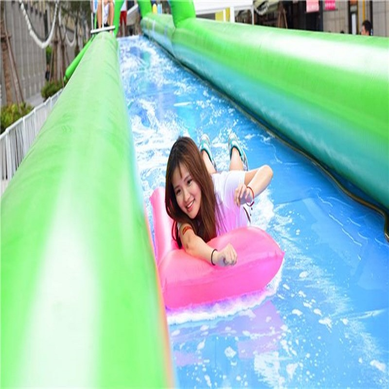 city water slide  large outdoor inflatable recreation 20 M long playing in summer park relieve heat the