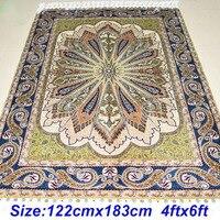 Mingxin Dywan 4x6 stóp zieleń trawy turecki dywan dywan handmade sztuczny jedwab dywan dla pokoju mat
