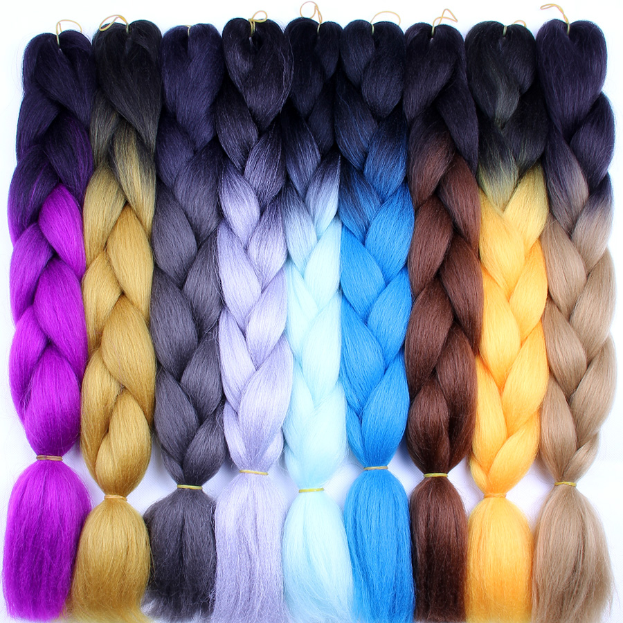 FALEMEI synthetic crochet braids hair ombre Kanekalon Jumbo Braiding Hair 100g/pack 5-6Packs can full a head 24inch 60colors