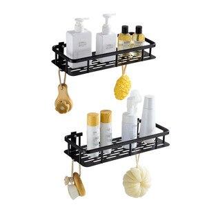 Полка для ванной комнаты, алюминиевая черная душевая кабина с крючком, шампунь, мыло, держатель для духов, для ванной, Организация хранения, ...