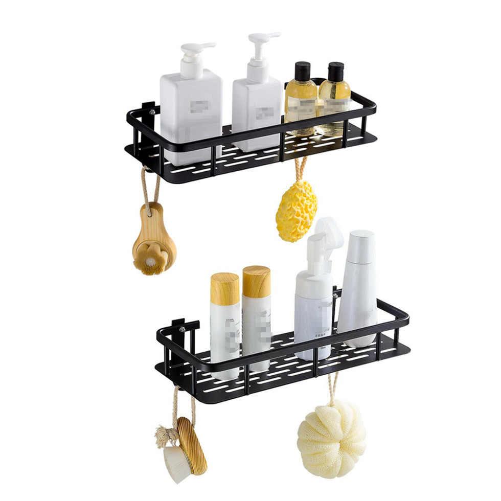 Półka łazienkowa aluminiowy czarny koszyk prysznicowy z haczykiem szampon mydło perfumy uchwyt do przechowywania kąpieli organizacja etagere salle de bain
