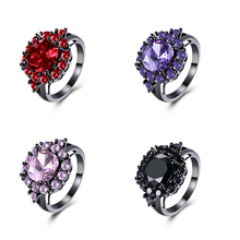 Fashion Square Zircon Rings for Women Gun Black Plating Flower Crystal Party Wedding Finger Ring Accessorise Jewelry