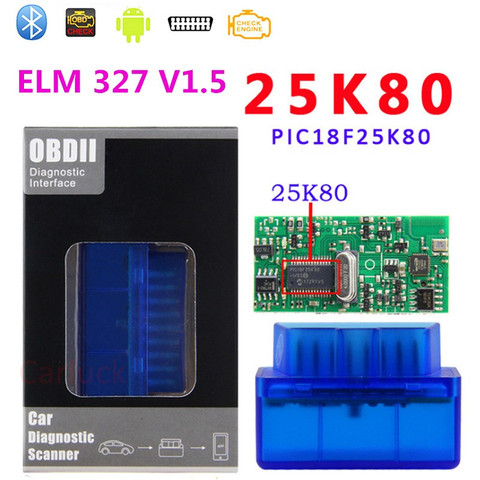 Top Quality PIC18F2580 chip Mini ELM327 Bluetooth OBD2 Car Scanner ELM327 V1.5 Automotive OBDII CAR Diagnostic Tool for Android