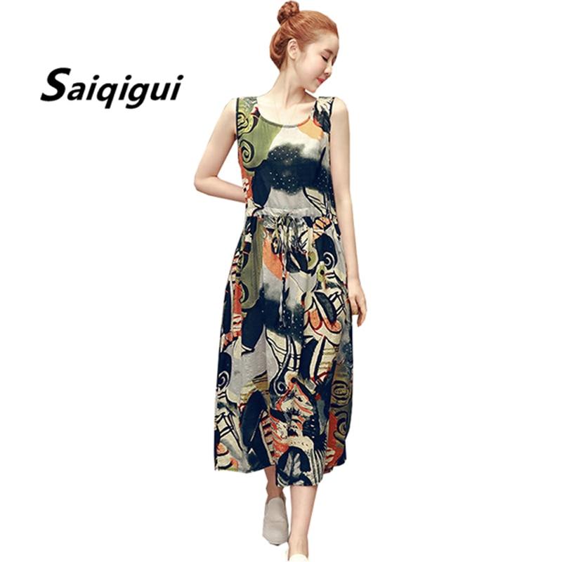 Saiqigui 2018 Fashion Summer dress tank women dress casual Bohemian cotton Linen dress o-neck vestidos de festa plus size M-4XL