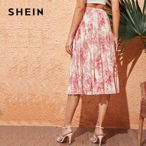 Image 2 - Shein 조경 인쇄 스윙 pleated 치마 봄 여름 여성 boho 높은 허리 롱 스커트 숙녀 라인 우아한 미디 스커트
