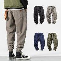 men jogger pants warm high street casual pants cargo hip hop trousers teenage wool sweatpants brushed
