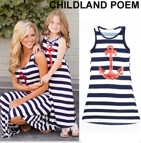 Matching Mother And Daughter Dress Sleeveless Stripe Mother Daughter Clothes Family Matching Look Mom And Daughter Summer Dress