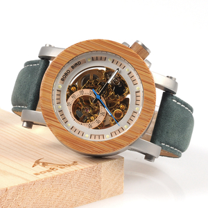 Image 3 - BOBO BIRD WK13 Bamboo Mechanica Watch Vintage Bronze Skeleton Clock Male Antique Steampunk Casual Automatic Navy Band Homme