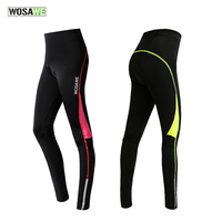 2017 WOSAWE Cycling Pants Bicycle Tights Sportswear Women Bike Riding Cycling Clothing Padded Tight Pants Trousers