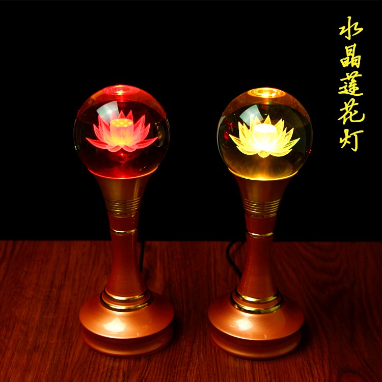 Wholesale TOP GOOD Buddhist Articles- HOME Family Protection Talisman- 7 Colors Lotus Crystal Buddhist Temples Lamps