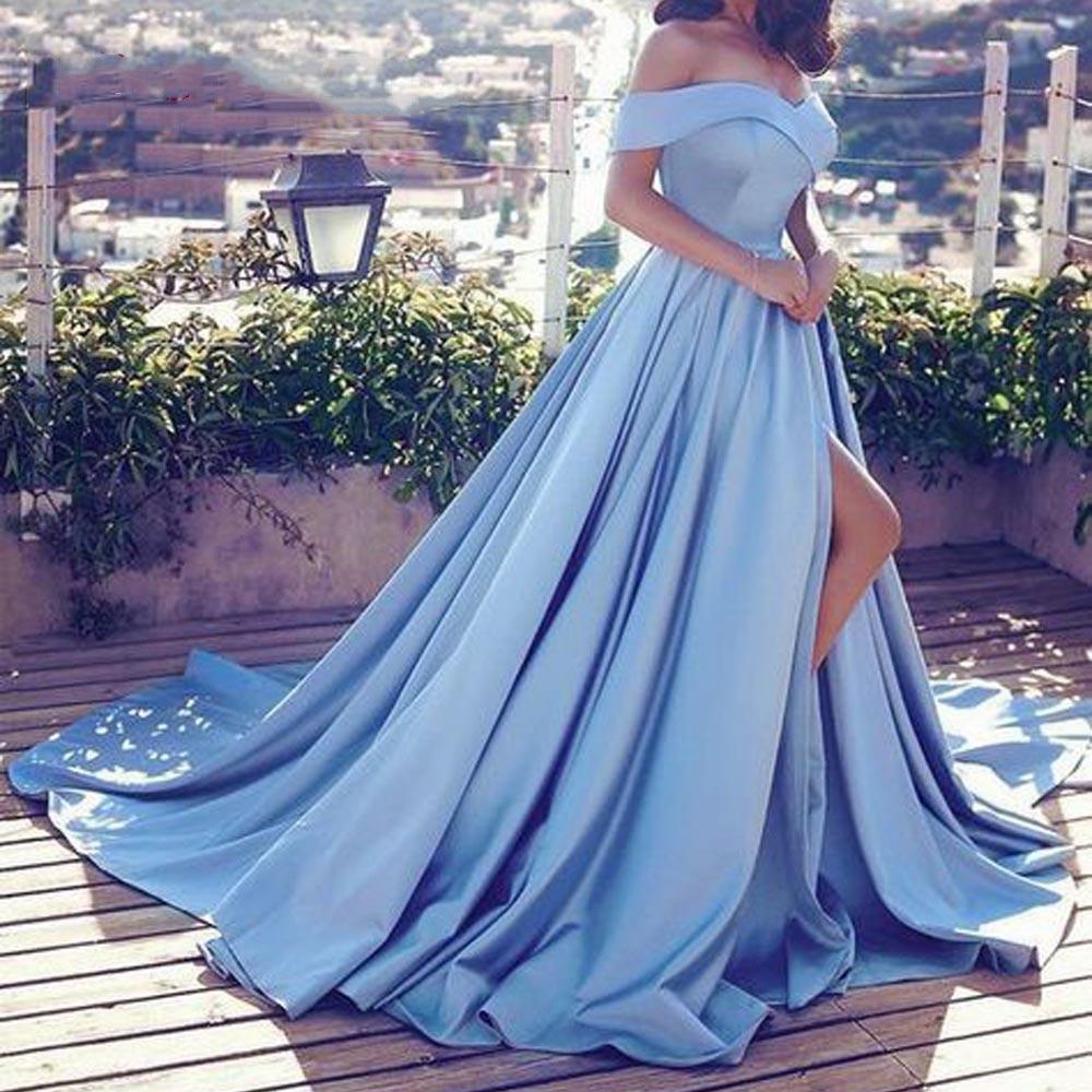 2020 Pink Blue Evening Dresses Sexy V Neck Off The Shoulder Satin A Line Elegant Long Prom Dress Vestido De Festa Curto