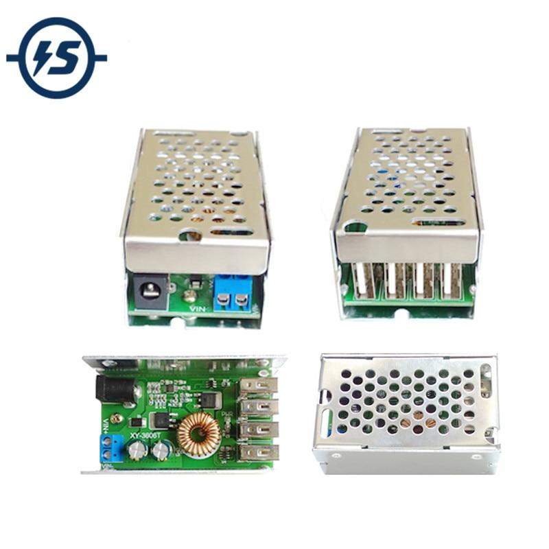 Adjustable LM2596S DC DC 24V/12V to 5V 5A Step Down Power Supply Module Buck Converter Board Voltage Regulator + Aluminum shell