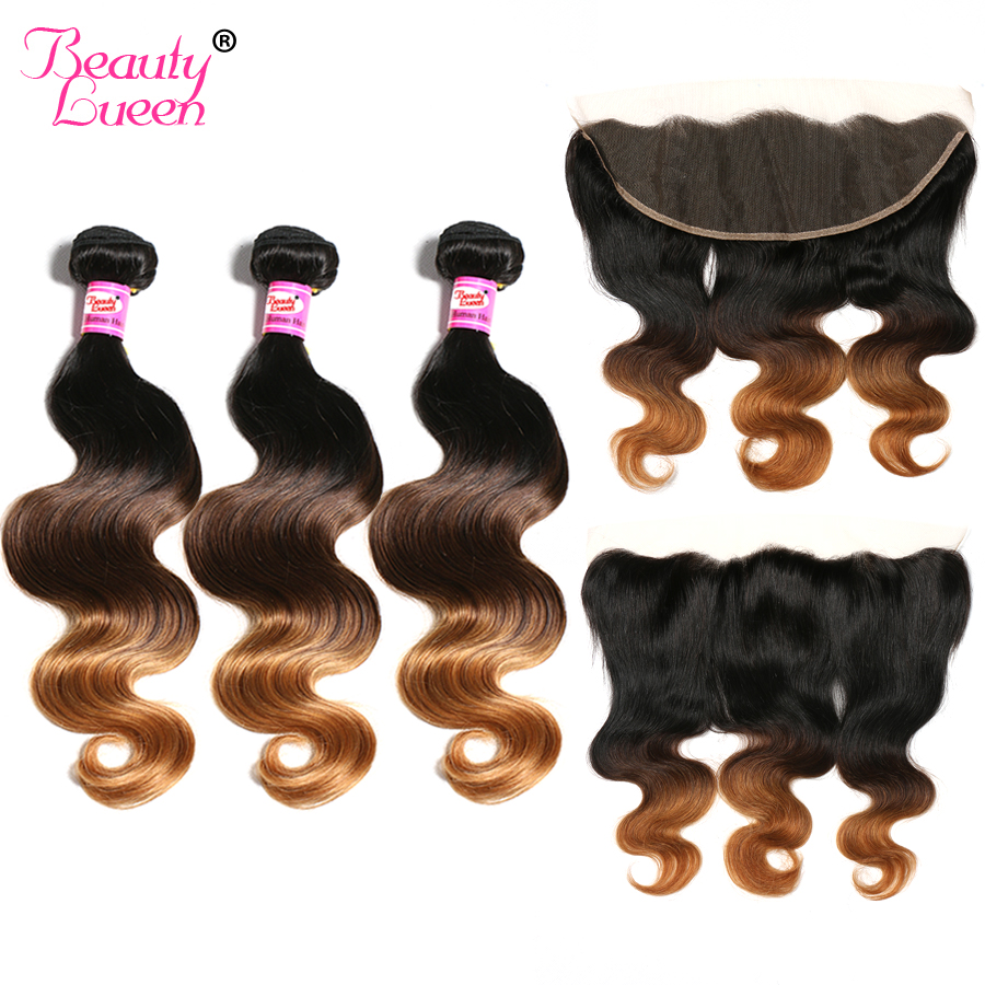 Lace Frontal Closure With Bundles Brazilian Human Hair Weave Ombre Body Wave 3 Bundles With Closure