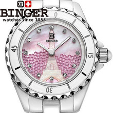 Wholesale Fancy Binger Ceramics Watch Woman Elegant Pink Shell Porcelain Watches Bright Crystal Carving Eiffel Tower