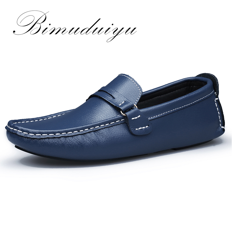 BIMUDUIYU Brand New Men Flats Soft  Bottom Leather Comfy Driving Shoes Handmade Summer Slip On Causal Shoes For Man Size 38-47 relikey brand summer slip on driving shoes for men full grain leather high quality breathable moccasins soft solid men shoes