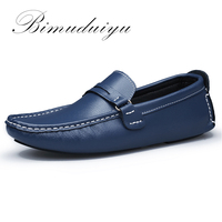 BIMUDUIYU Brand New Men Flats Soft Bottom Leather Comfy Driving Shoes Handmade Summer Slip On Causal