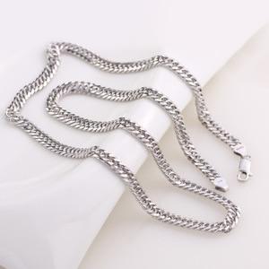 """Image 5 - 100% 925 ayar gümüş kolye erkek gümüş zincir küba yan kolye 4/5 / 6MM20 """"erkek takı"""