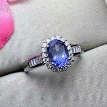shilovem 925 silver sterling natural tanzanite rings trendy fine Jewelry women new gift 5*7mm xhfj050701agts