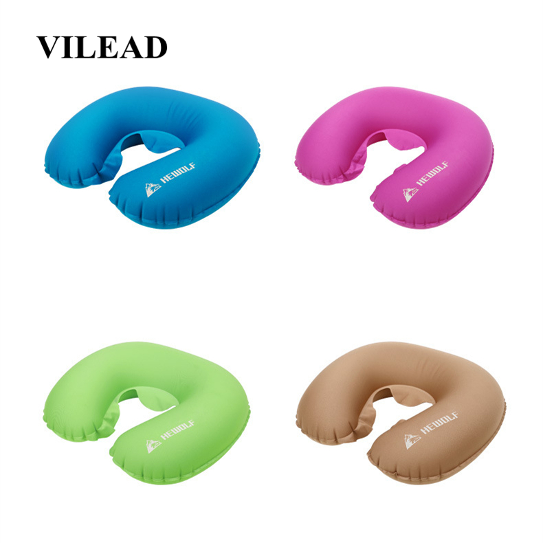 VILEAD Portable U shape Camping Pillow 36*31 cm Outdoor Hiking Travel Inflatable Cushion Plane Beach Sleep Ultralight Soft Mat-in Camping Pillows from Sports & Entertainment
